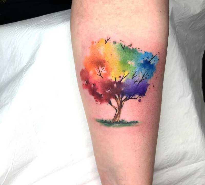watercolor tree tattoo