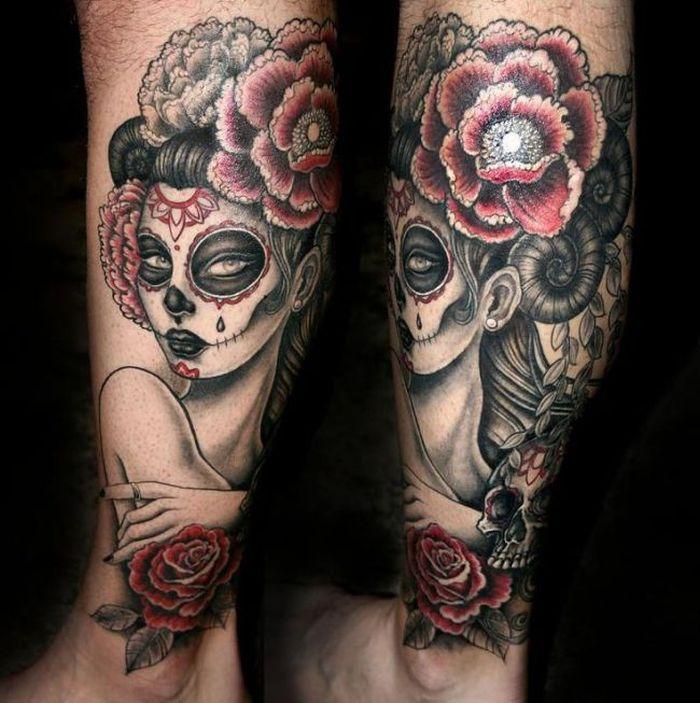 Dia De Los Muertos Leg Tattoo 32