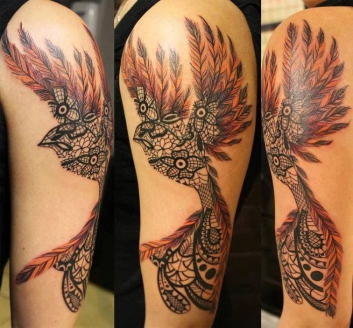 Lace Bird Tattoo 45