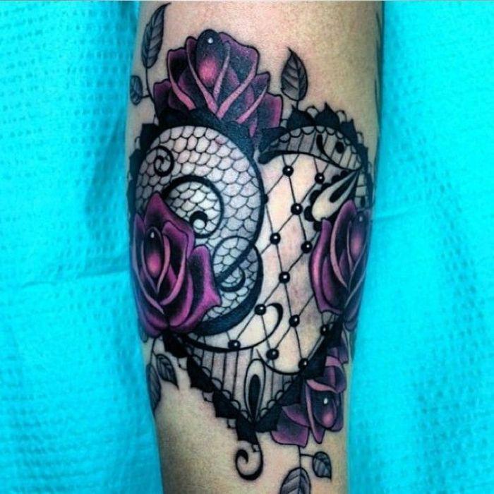 Lace Heart Tattoo