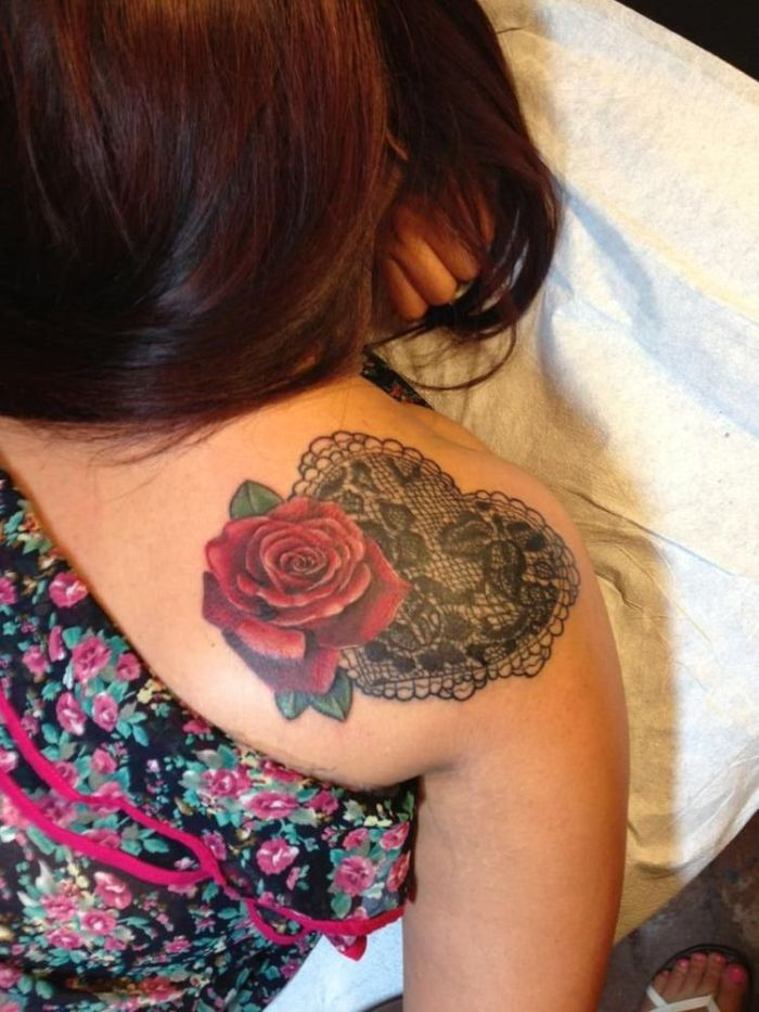 Lace heart - realistic red rose tattoo by Cara Hanson