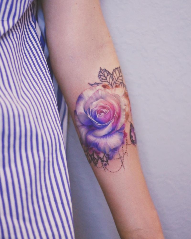 abstract rose tattoo