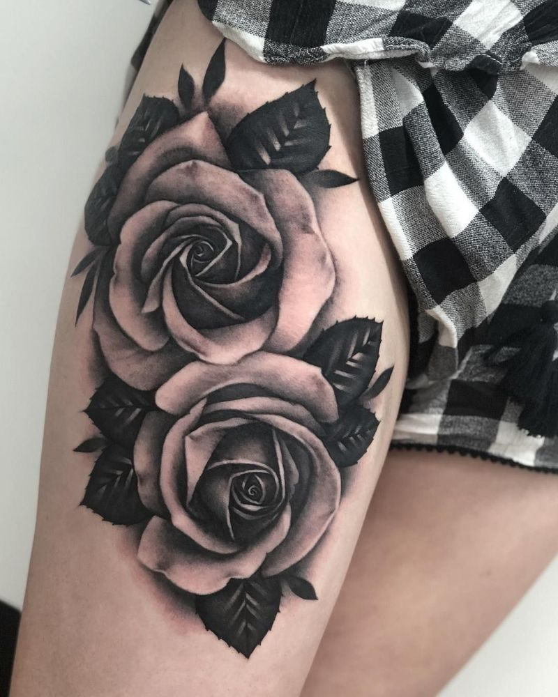 Awesome Black Gray Roses Tattoo By Chloe Aspey 1 Kickass Things