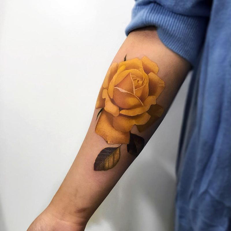 awesome yellow rose tattoo