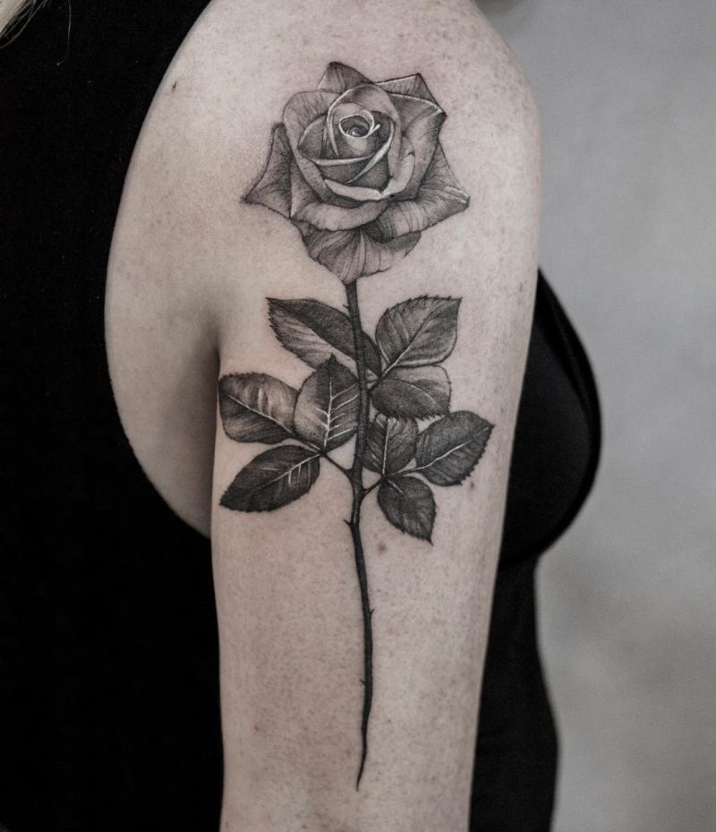 black & gray rose tattoos