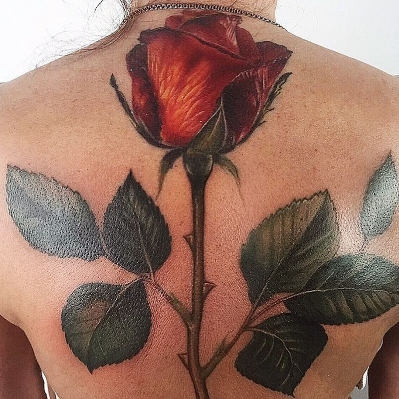 jaw-dropping rose tattoo