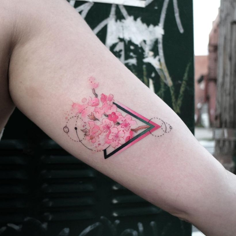 geometric watercolor tattoo
