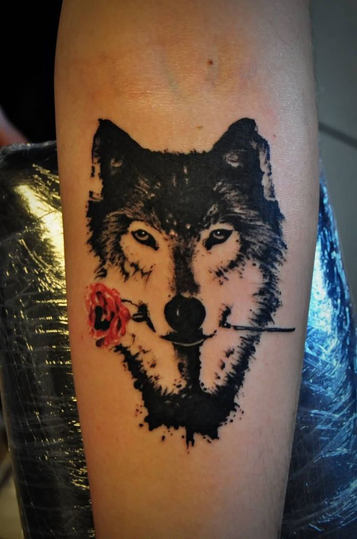 Wolf With Rose - Watercolor Tattoo (46B)