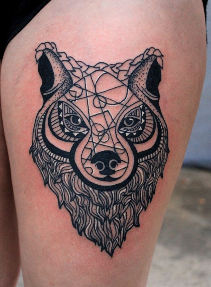 abstract wolf tattoo design for women (34)