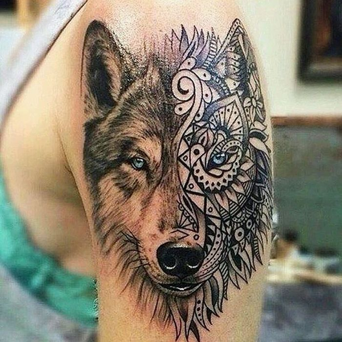 50 of the most beautiful wolf tattoo designs the internet has ever seen kickass things - Tete de loup tatouage ...