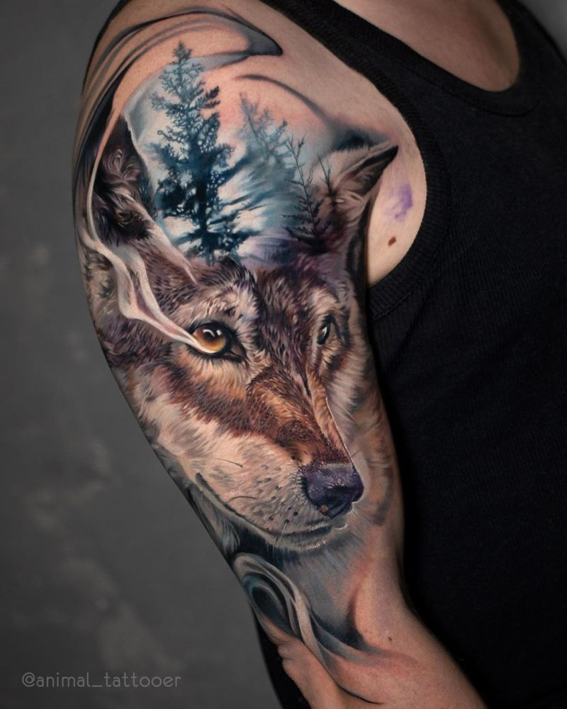 colored wolf tattoos