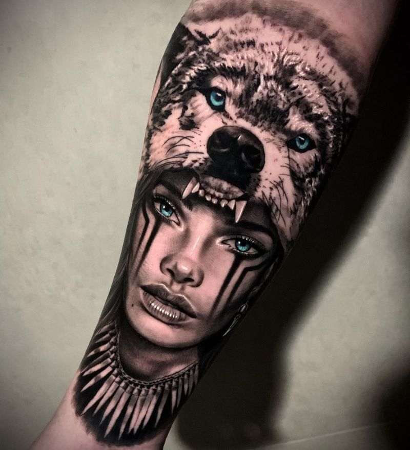 wolf tattoos for girls