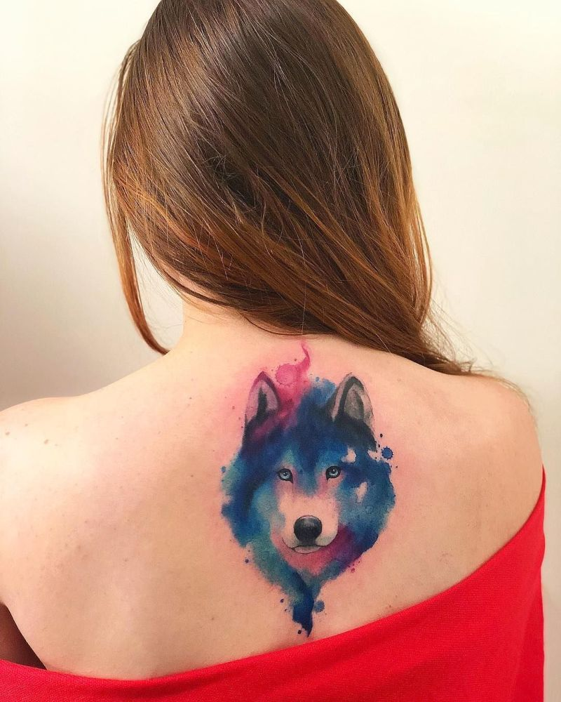 watercolor wolf tattoos