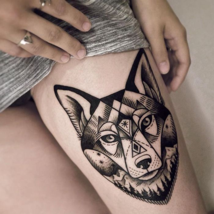wolf tattoo designs for women (49)