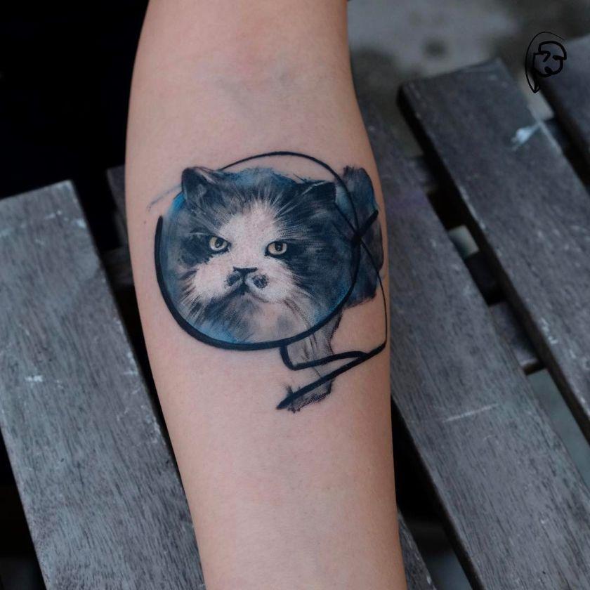 awesome cat tattoo by Tayfun Bezgin