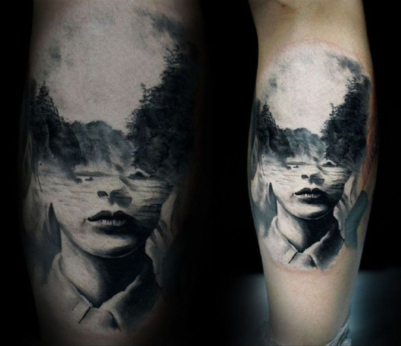 double exposure tattoo by Caroline Friedmann 2