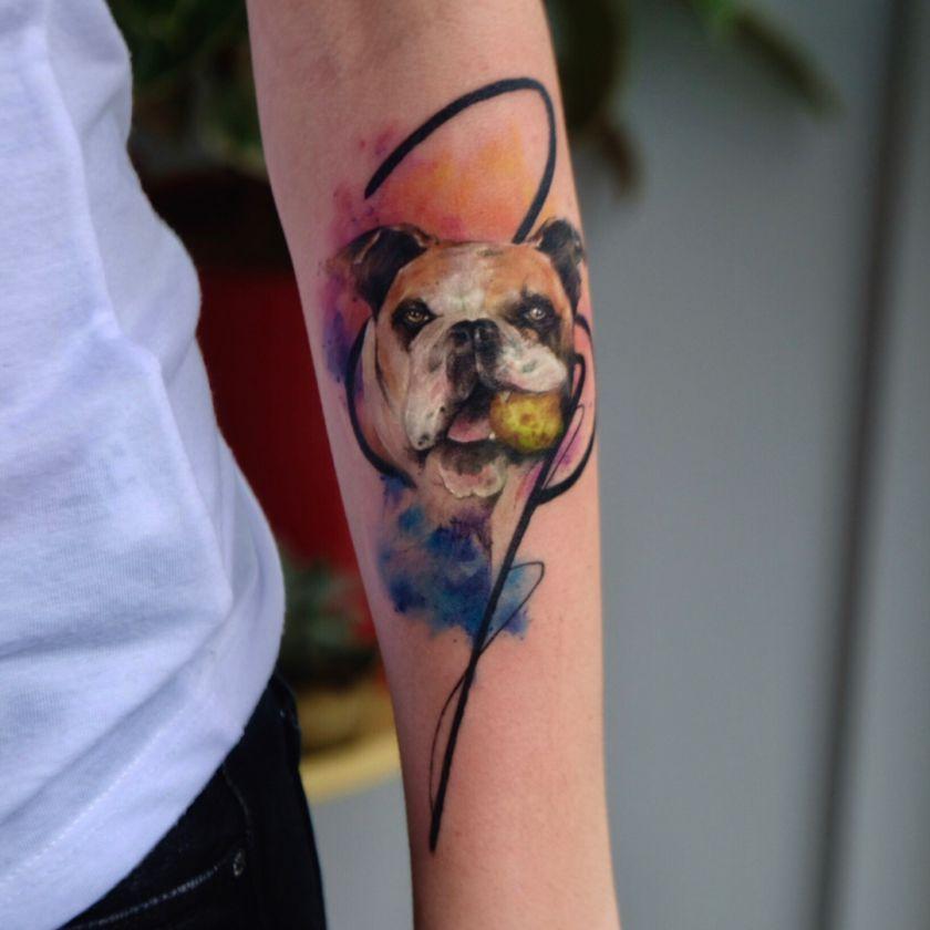 sketchy watercolor dog tattoo