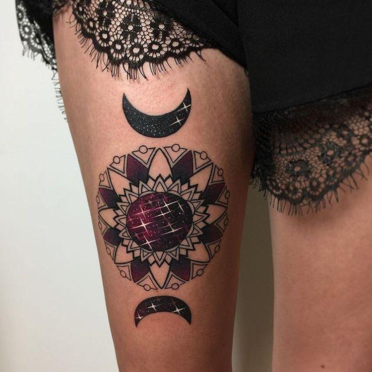 Moon Mandala Tattoo By Miryam Lumpini (1)