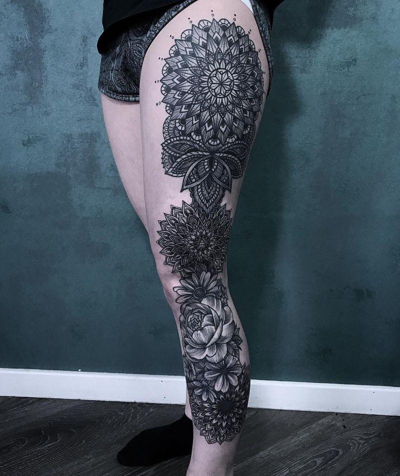 leg mandala tattoos