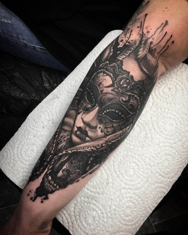 30 of the most beautiful and mysterious venetian mask tattoos and their meaning kickass things. Black Bedroom Furniture Sets. Home Design Ideas