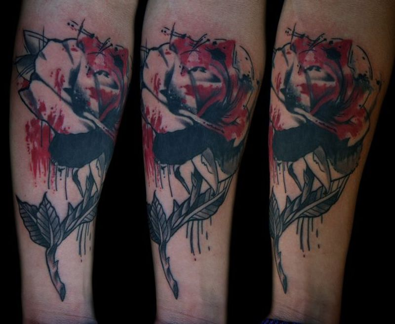 Feed your ink addiction with 50 of the most beautiful rose for Abstract rose tattoo