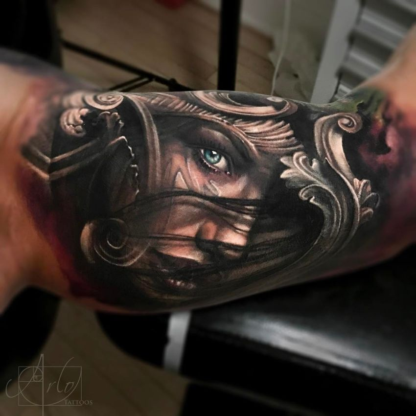 jaw dropping face morph tattoos by arlo dicristina kickass things. Black Bedroom Furniture Sets. Home Design Ideas