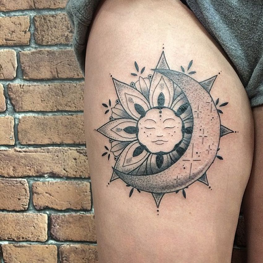 50 meaningful and beautiful sun and moon tattoos kickass things. Black Bedroom Furniture Sets. Home Design Ideas