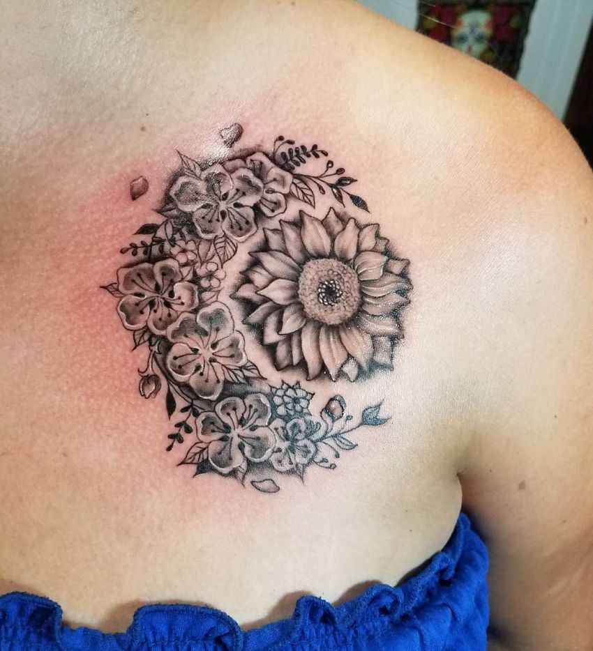50 meaningful and beautiful sun and moon tattoos kickass things floral sun and moon tattoo buycottarizona Gallery