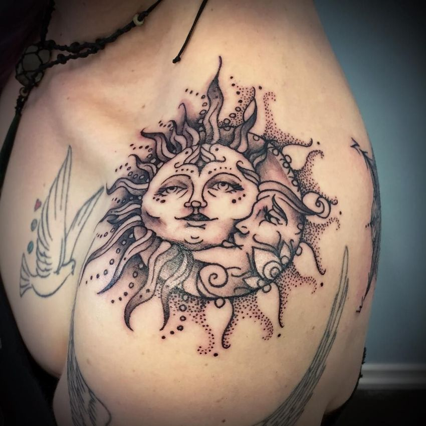 moon and sun shoulder tattoo