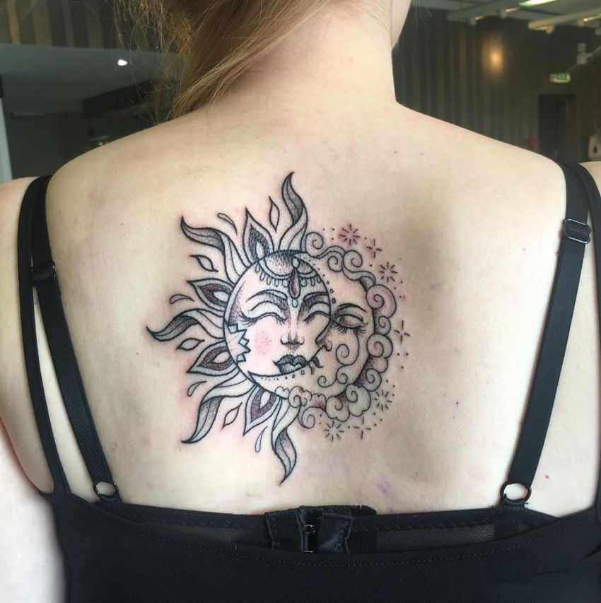 50 Meaningful and Beautiful Sun and Moon Tattoos - KickAss ...