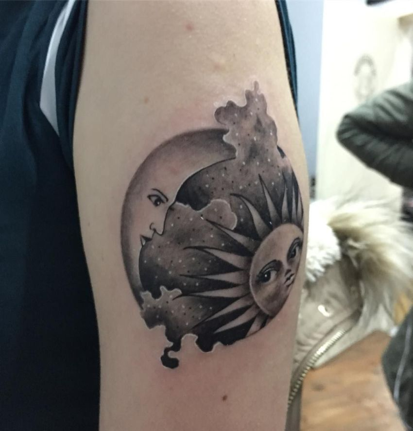 sun moon tattoo