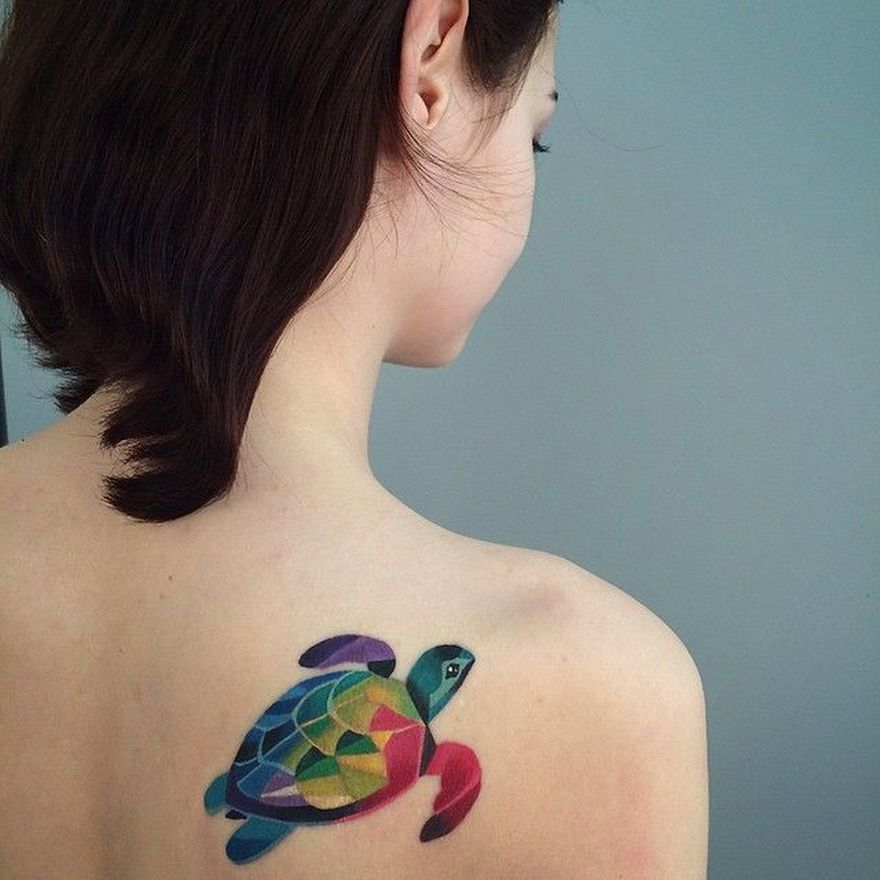 watercolor turtle tattoo