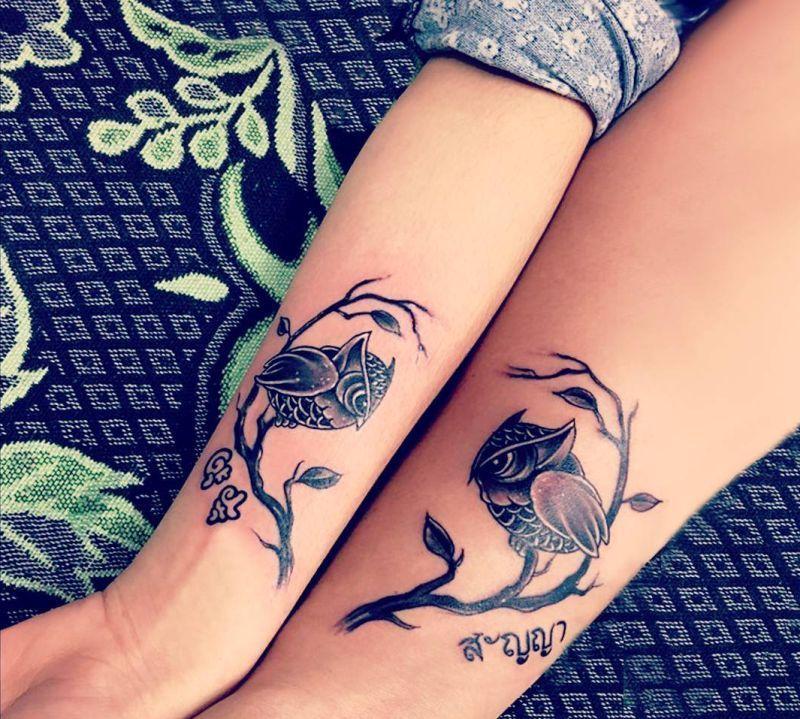 owl matching tattoos