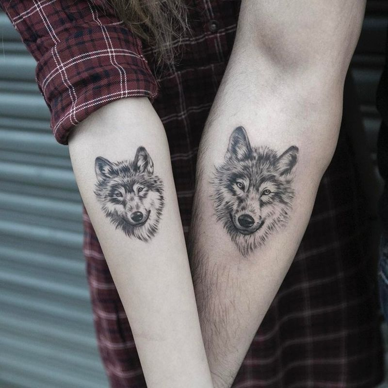 wolf couple tattoo idea