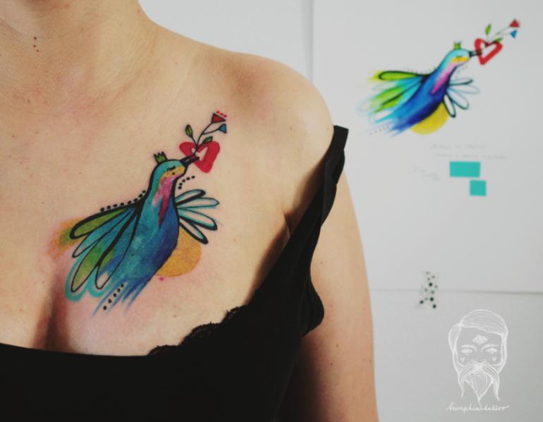 colorful illustrative tattoo