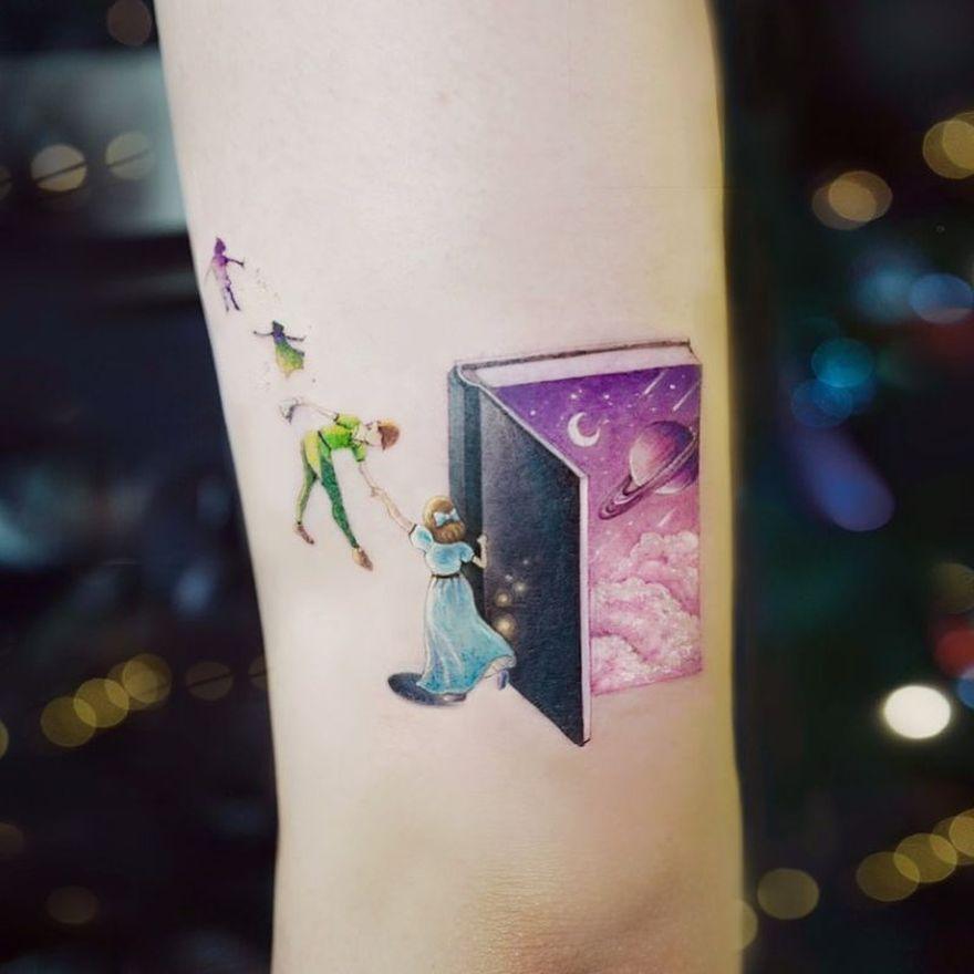colored book tattoos