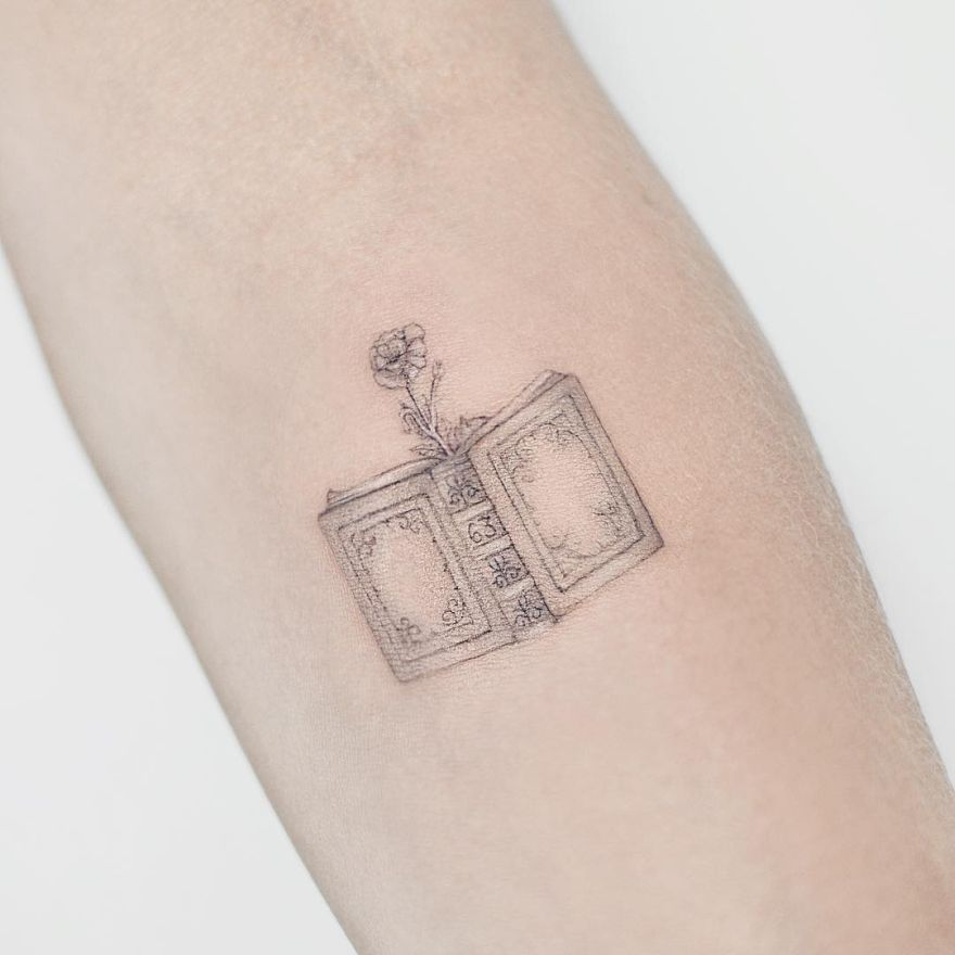 minimalist book tattoo ideas