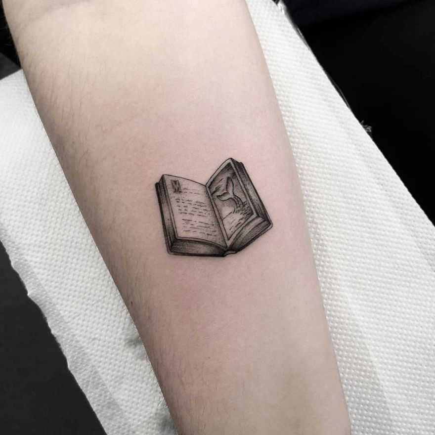 minimalist book tattoos