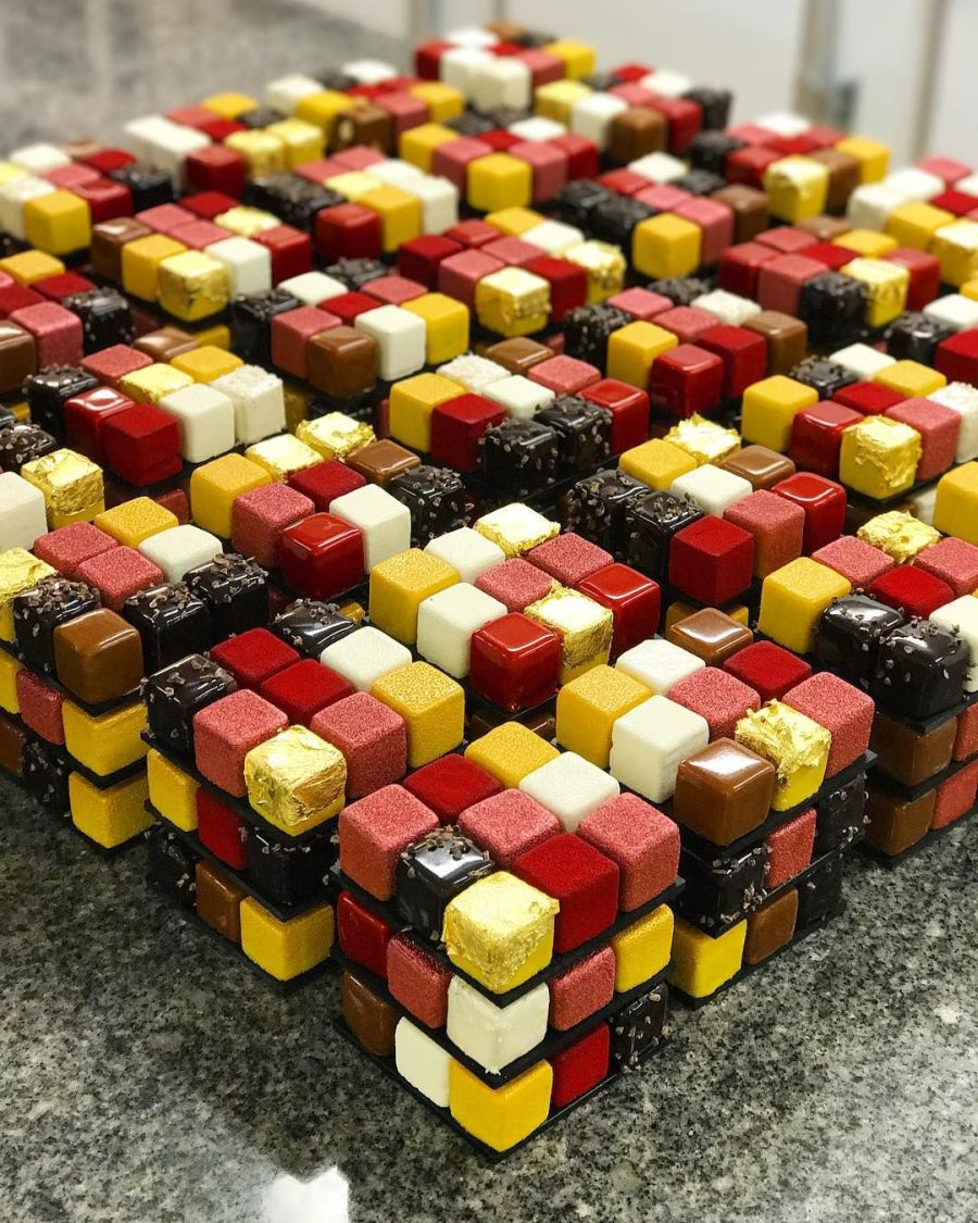 rubik cube cakes by cedric grolet