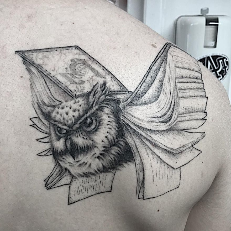 creative book tattoo