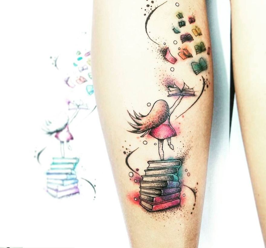 awe inspiring book tattoos for literature lovers kickass things. Black Bedroom Furniture Sets. Home Design Ideas