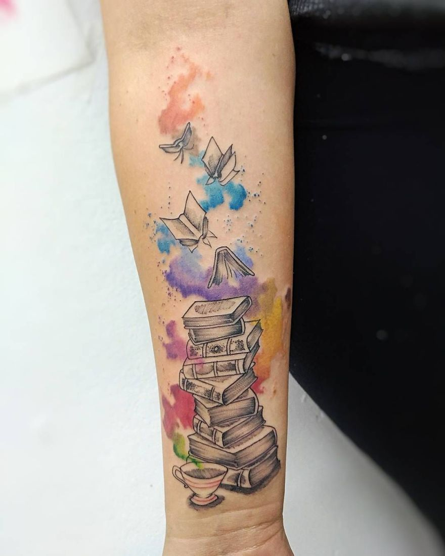 Book Cover Watercolor Tattoos : Awe inspiring book tattoos for literature lovers kickass