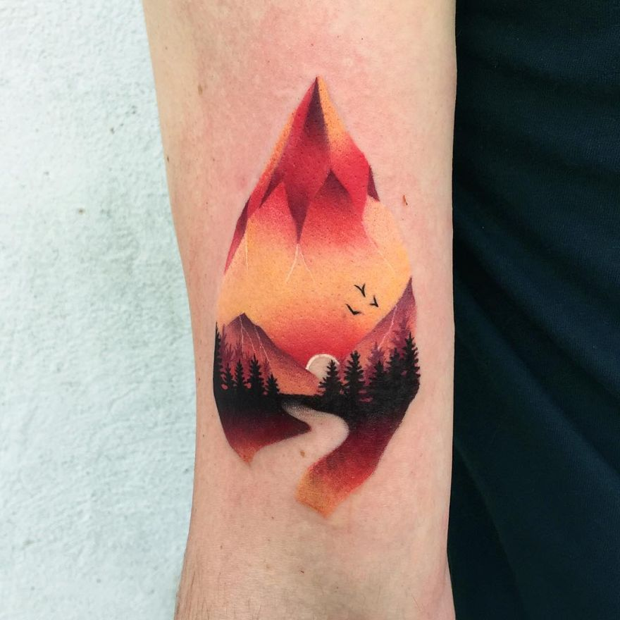 colorful mountain tattoo