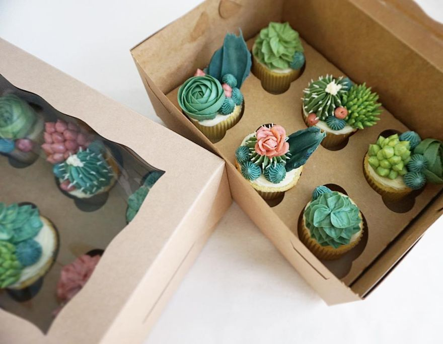 Succulent Cupcakes by Brooklyn Floral Delight Bakery