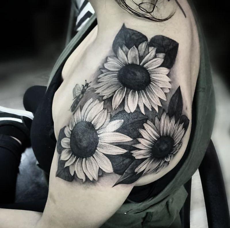 blackout sunflower tattoo