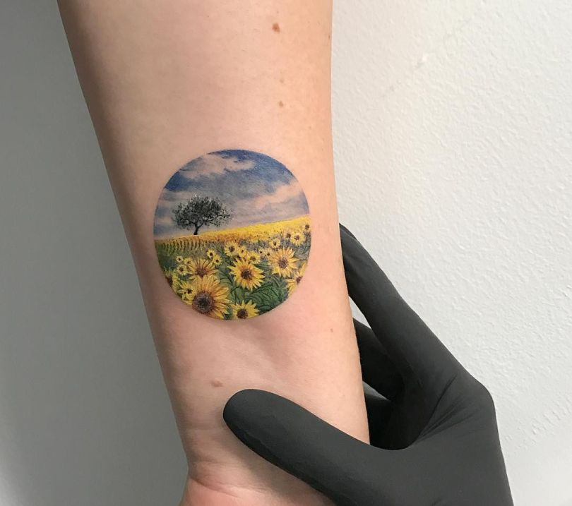 awesome sunflower tattoos