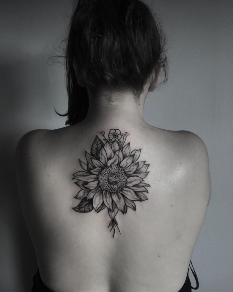 Black And Gray Sunflower Tattoo 1a Kickass Things
