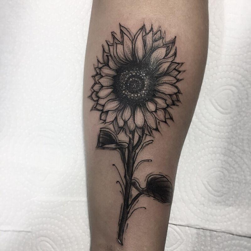 191b1f8bb01f9 black and grey sunflower tattoo (38) - KickAss Things