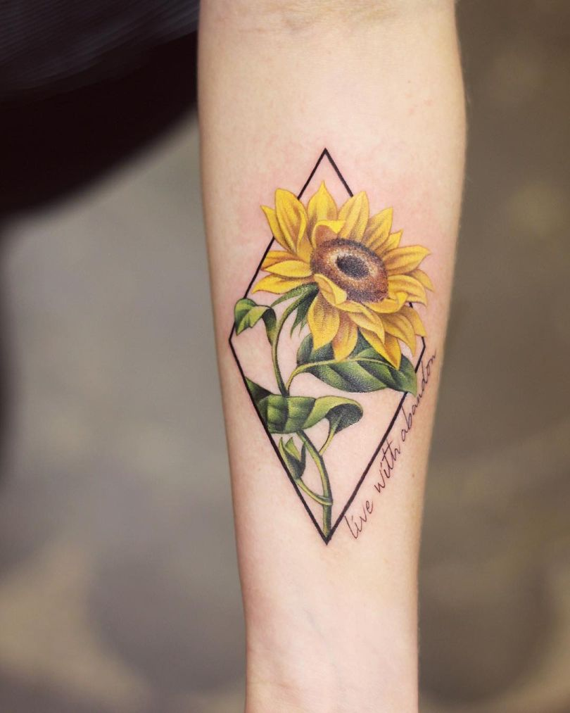 beautiful sunflower tattoos