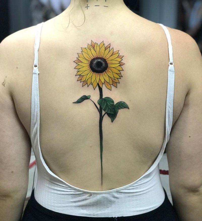 spine sunflower tattoo